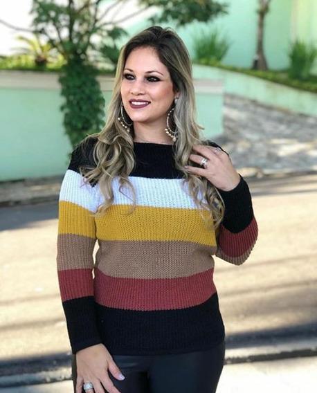 Casaco De Tricô Blusa Feminina Sueter Frio Inverno Linha