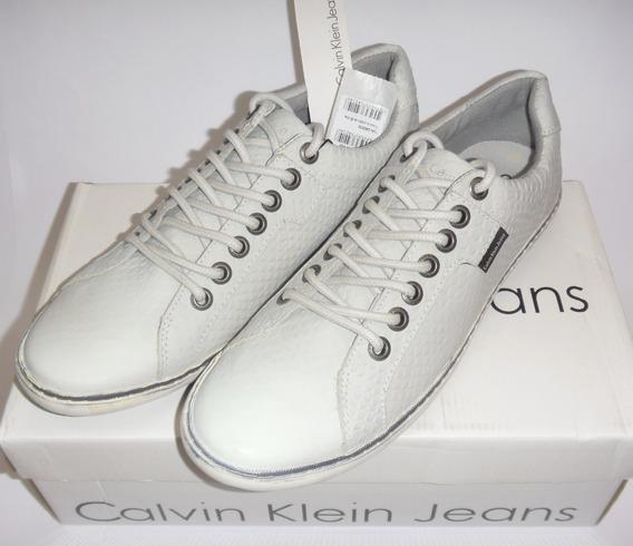 Tênis Couro Calvin Klein Sunset Nyc - Couro Legítimo/ Branco