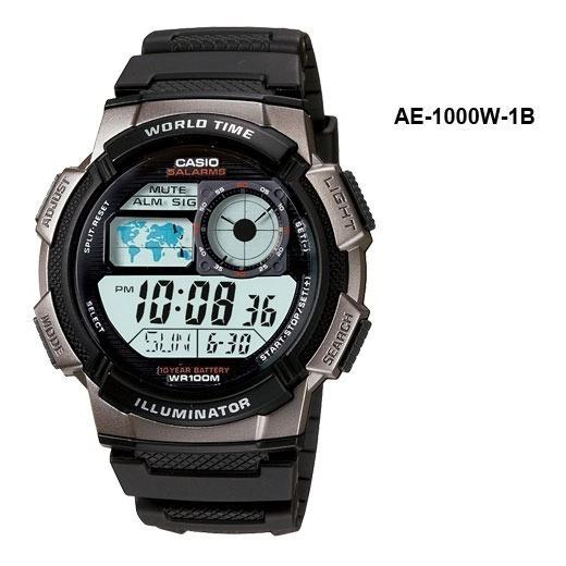 Relogio Casio Ae 1000w 1b Borracha Mapa Azul Crono. Na Caixa