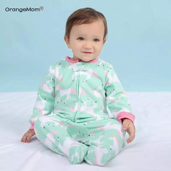 Macacão Bebê Fleece Soft Peluciado Com Pé Unicórnios