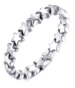 Anel Estrelas Pura Prata 925