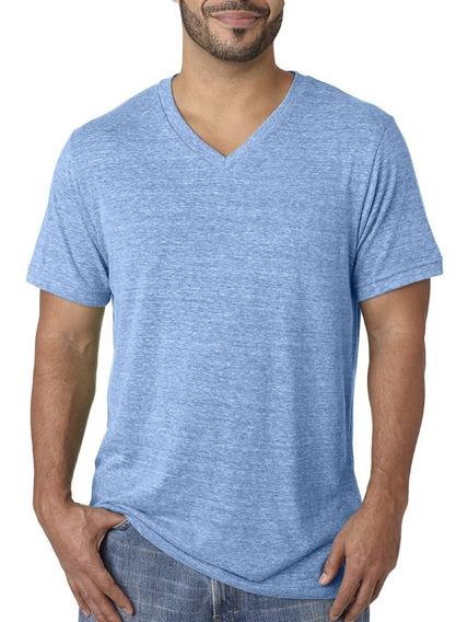 Kit C/7 Camisetas Malha Fria Gola V Básica Tecido Pv Camisa