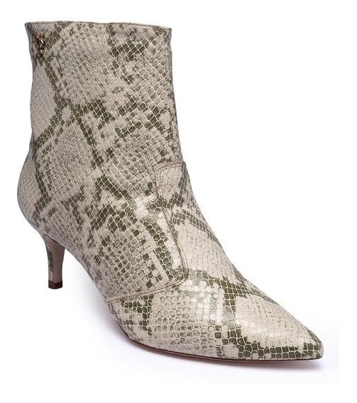Bota Ankle Boot Feminina Bico Fino Animal Print Dia A Dia