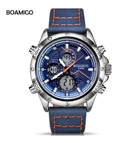 Relógio Esportivo Caixa De Aço Boamigo F924 Cronógrafo Couro