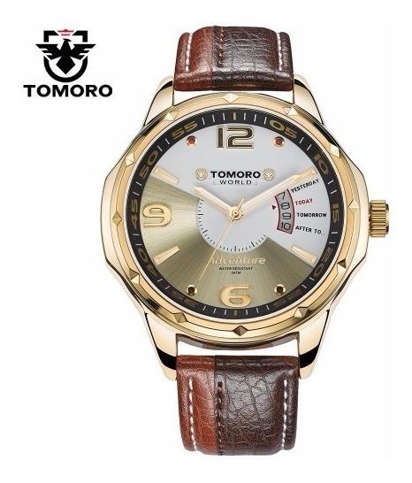 Relógio Masculino Tomoro Quartzo Calendário Dourado Promoção