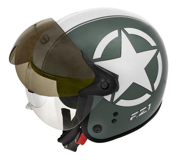 Capacete Moto Peels F-21 Us Army (verde Mil. Branco) L/60