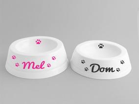 1 Comedouro Personalizado Em Porcelana Pet Cachorro Ou Gato