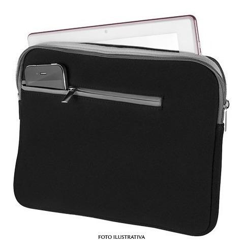 Case Neoprene Para Notebook Ate 14- Preto E Cinza