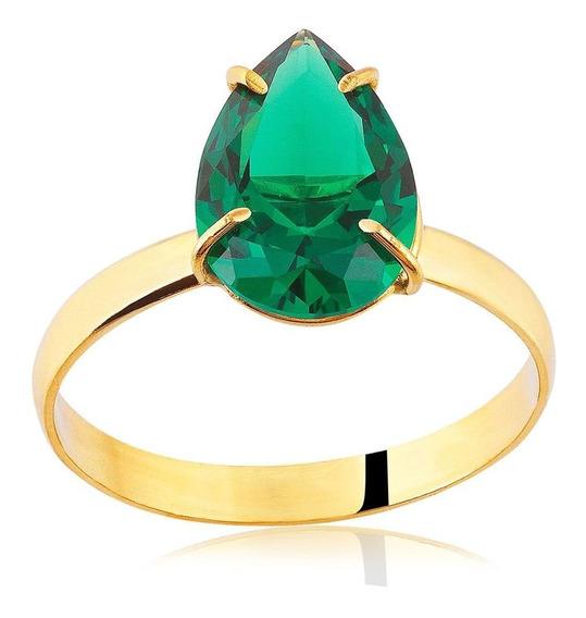 Anel De Ouro Gota Com Zircônia Verde Ref: An0477vd