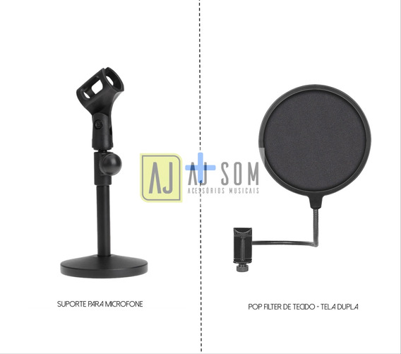 Kit-pedestal Base De Ferro+ Pop Filter 6