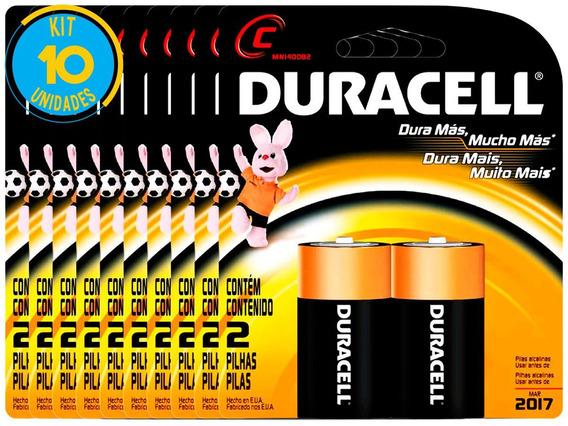 Pilha Alcalina Media Duracell C Cart. Com 2 ( 10 Cartelas )