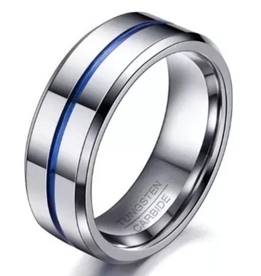 Anel Masculino Homem 8 Mm Prata Tungstênio Fio Azul Jóia
