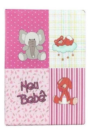 Álbum De Fotos Com Diário Do Bebê Rosa 10x15 - 500 Fotos