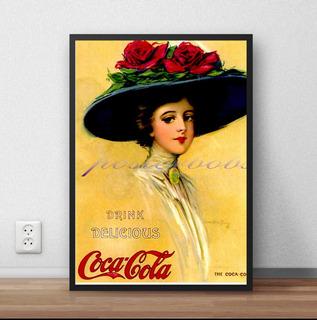 Poster Com Moldura Coca Cola Vintage Pin Up P1154