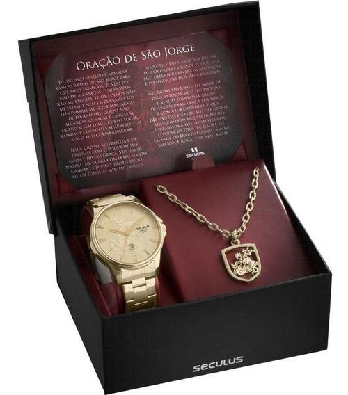 Relógio Masculino Seculus 28933gpskda1 Kit Medalha São Jorge