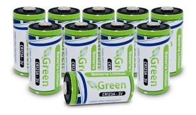 Kit 10 Bateria Pilha Lithiun Green Photo Cr123a 3v