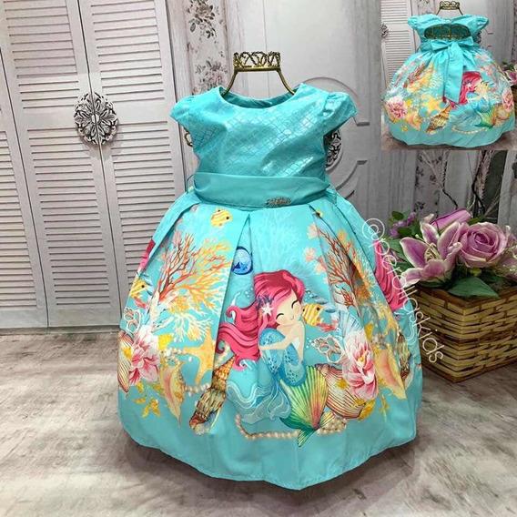 Vestido Infantil Pequena Sereia Luxo 1/2/3/4 Anos
