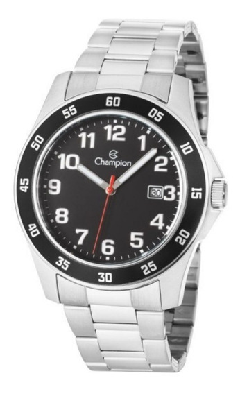 Relógio Masculino Prata Champion Fundo Preto Com Data + Nf