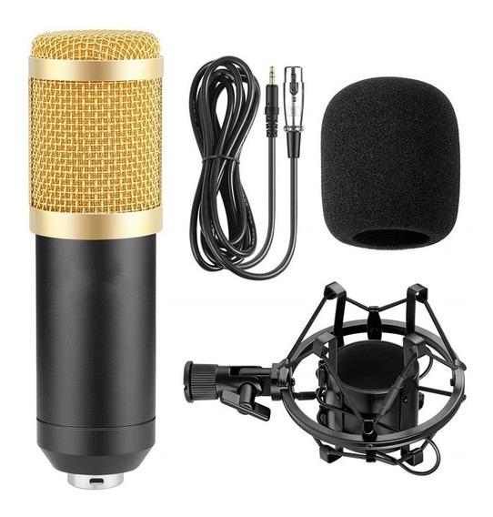 Microfono Condensador Bm800 Con Base Araña Cable Plug 3.5mm