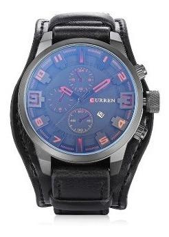 Relógio Curren 8225 Quartzo Masculino Preto Com Vermelho