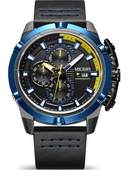Reloj Cronografo Megir Importado Correa Cuero Hombre
