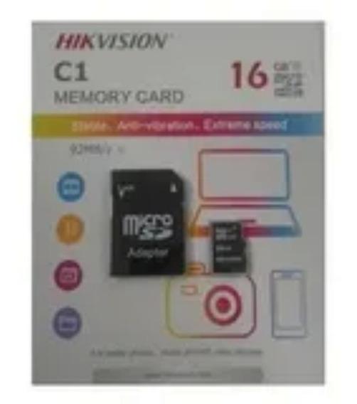 Cartão Memoria Micro Sd Hikvision 16gb + 1 Adpt. Class 10
