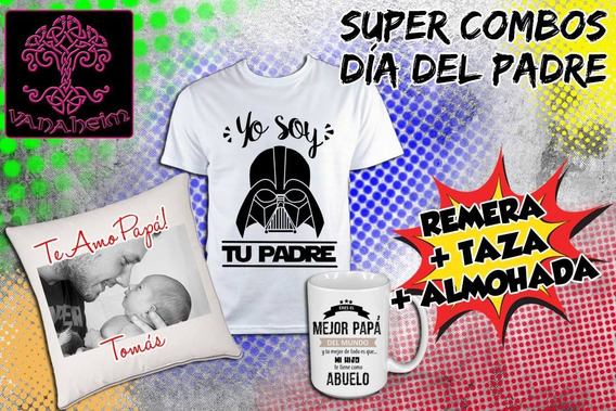 Combo Día Del Padre Remera + Almohadón + Taza