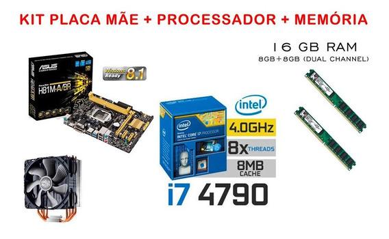 Kit Intel Core I7 4790 16gb Ram Placa Mãe Asus Cooler