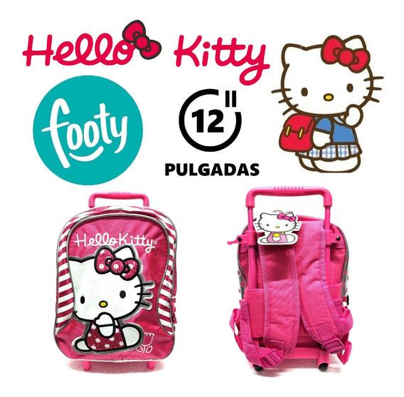 Mochila Hello Kitty Con Carrito 12 Pulgadas Original Footy!