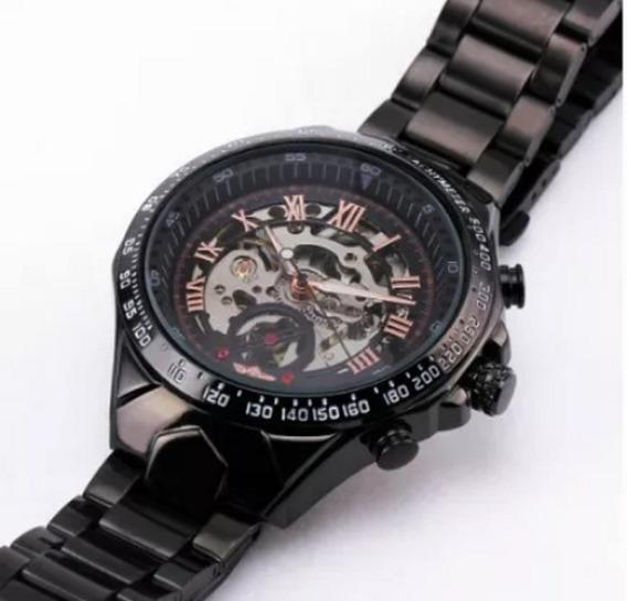Relógio Winner Black, Automático E Corda, Relógio Esqueleto