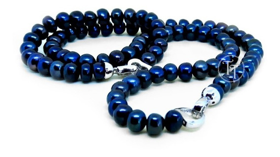 Set Perlas Naturales Plata Esterlina 925 Broche Tiff Blue