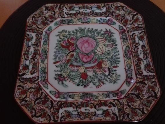 Antiguo Plato De Porcelana China De Canton Y Perfumeros