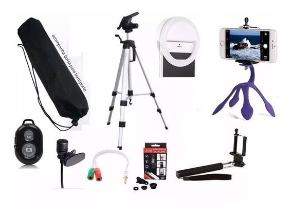 Kit Youtuber Celular + Microfone + Tripé 1,50m Selfie