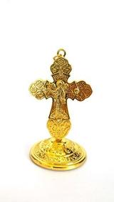 Crucifixo Do Anjo Da Guarda Cruz Jesus Dourada 9cm