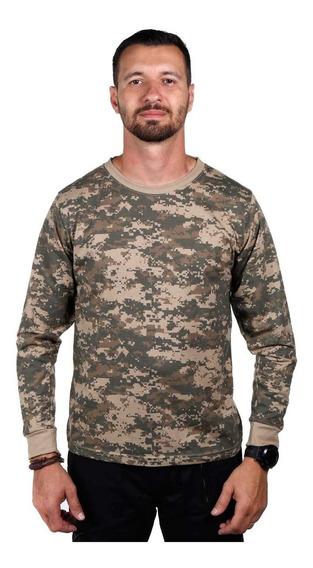 Camiseta Camuflada Digital Army Combat Manga Longa Original