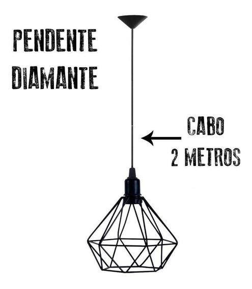 Lustre Pendente Luminária Aramado Diamante 2 Metros