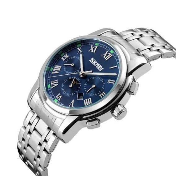 Relógio Skmei 9121 Masculino Quartz Visor Azul Claro Lindo