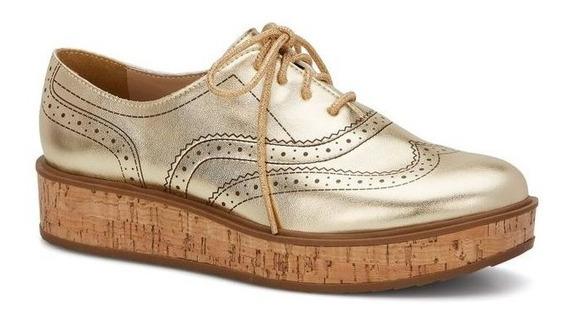 Zapato Andrea Oro Oxford 2536767 Agujetas Plataforma Corcho