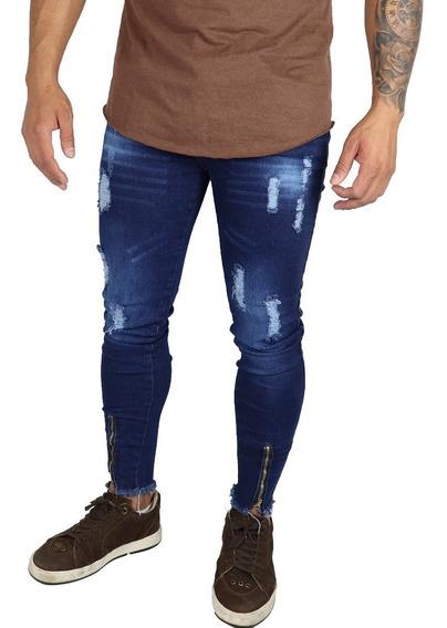 Kit 3 Calça Jeans Masculina Super Skinny Ziper Rasgada