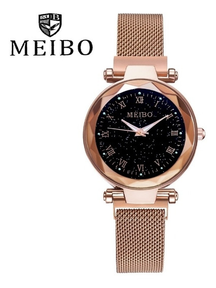 Relógio Feminino Céu Estrelado Rose Gold