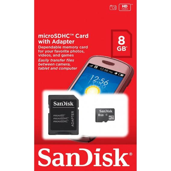 Cartão De Memória Micro Sd 8gb Com Adaptador Sandisk