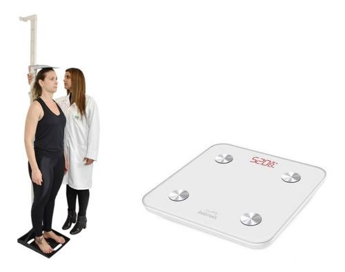 Estadiômetro Portátil + Balança Bioimpedancia Bluetooth Myfi
