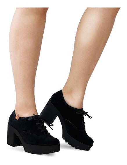 Sapato Oxford Tratorado Moleca Salto Médio Grosso 5647106