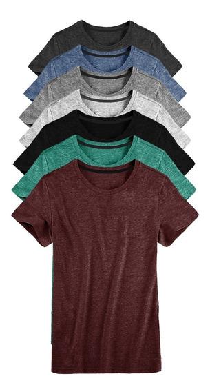 Kit 07 Camisetas Masculina Camisa Slim Fit Lisa Basic Basica