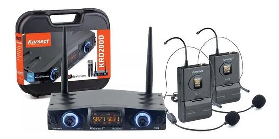 Microfone Sem Fio Duplo Headset Auricular Karsect Krd200 Dh