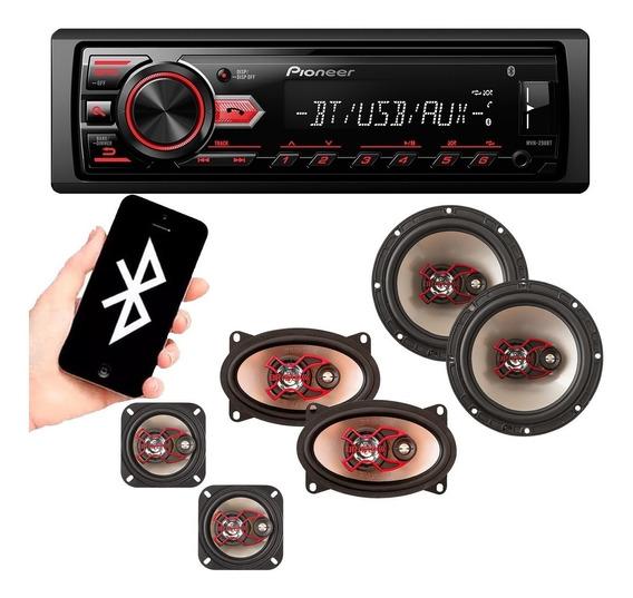 Rádio Automotivo Pioneer Bluetooth + Falantes Gol Quadrado