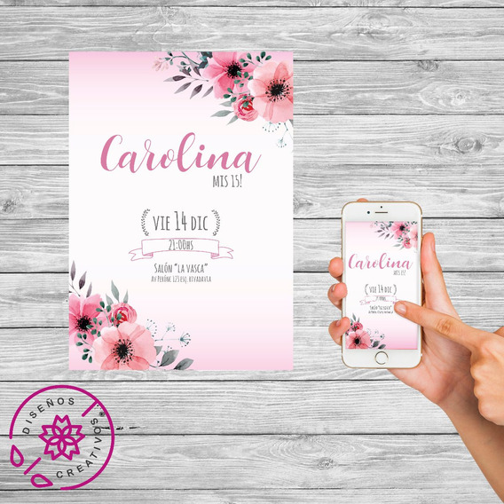 Invitacion Tarjeta Digital Personalizada. Cumpleaños De 15