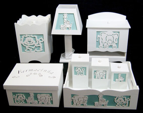 d68e7fae3 Kit Bebê Higiene Mdf Pintado Branco Safari Com Tecido