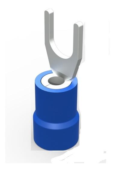 Terminal Garfo / Forquilha Azul - Fio Até 2,5mm - C/ 50 Unid