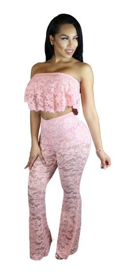 Sexy Conjunto Top Y Pantalon Encaje Rosa Table Dance 62023